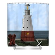 Vermillion River Lighthouse On Lake Erie Shower Curtain