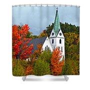 Vermont Church In Autumn Shower Curtain