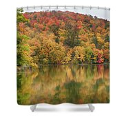 Vermont Fall Foliage Reflected On Pogue Pond Shower Curtain