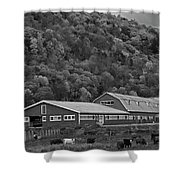 Vermont Farm With Cows Autumn Fall Black And White Shower Curtain