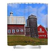 Vermont Farm Woodstock Vt Red Barn Shower Curtain