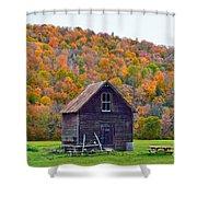 Vermont Garden Shed In Autumn Shower Curtain