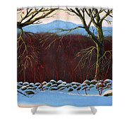 Vermont Stone Wall Shower Curtain