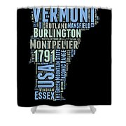 Vermont Word Cloud 1 Shower Curtain