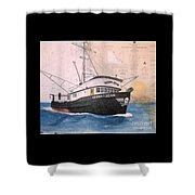 Verna Jean Fishing Boat Nautical Chart Map Shower Curtain