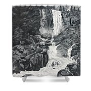 Vernal Falls Black And White Shower Curtain