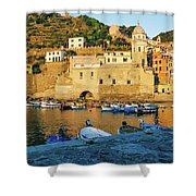Vernazza, Italy, At Sunset Shower Curtain