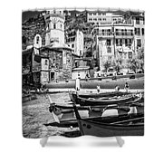 Vernazza Boats And Church Cinque Terre Italy Bw Shower Curtain