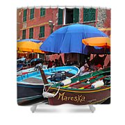 Vernazza Boats Shower Curtain