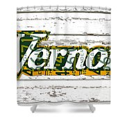 Vernors Beverage Company Recycled Michigan License Plate Art On Old White Barn Wood Shower Curtain