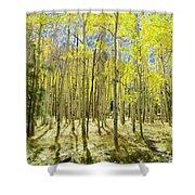 Vertical Aspen Forest Shower Curtain