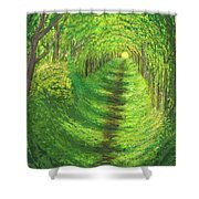 Vertical Tree Tunnel Shower Curtain