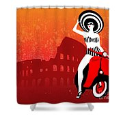 Vespa Girl Shower Curtain