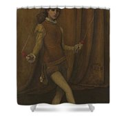 vHarmony in Yellow and Gold  The Gold Girl   Connie Gilchrist  James McNeill Whistler Shower Curtain