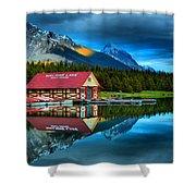 Vibrant Evening At Maligne Lake Boathouse Shower Curtain