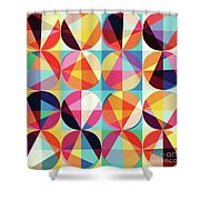 Vibrant Geometric Abstract Triangles Circles Squares Shower Curtain