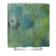 Vibrant Green Abstract Ink Design Shower Curtain
