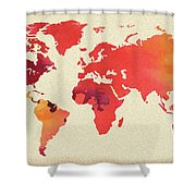 Vibrant Hot Watercolor World Map Shower Curtain