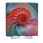 Vibrant Nautilus Pair - Horizontal Shower Curtain