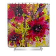 Vibrant Pink Poppies Shower Curtain