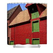 Vibrant Red And Green Building Shower Curtain