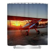 Vicky Benzings 1942 Boring Stearman At Livermore Shower Curtain