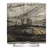 Victor Hugo   Gallows Of Montfaucon   1847 Shower Curtain