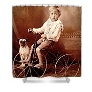 Victorian Boy With Pug Dog And Tricycle Circa 1900 Shower Curtain