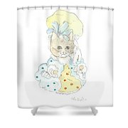 Victorian Cat In Blue And Yellow Shower Curtain