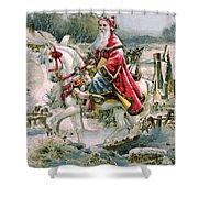 Victorian Christmas Card Depicting Saint Nicholas Shower Curtain