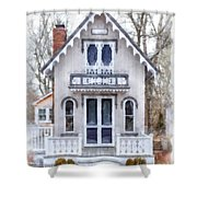 Victorian Cottage Watercolor Shower Curtain by Edward Fielding