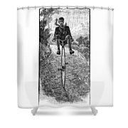 Victorian Gentleman On A Penny-farthing Shower Curtain