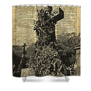 Victorian Gothic Graves Over Antique Dictionary Book Page Shower Curtain