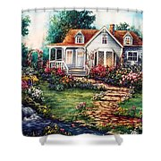 Victorian House With Gardens Shower Curtain