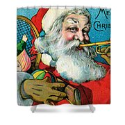 Victorian Illustration Of Santa Claus Holding Toys And Blowing On A Trumpet Shower Curtain