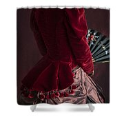 Victorian Lady In A Red Bussle Ensemble Shower Curtain