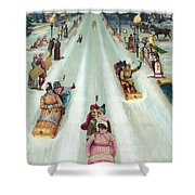 Victorian Poster Of Night Sledding Shower Curtain