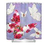 Victorian Wings, Fantasy Floral And Lace Butterflies Shower Curtain