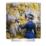 Victorian Woman Admiring Wisteria Flowers Shower Curtain