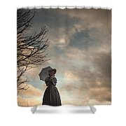 Victorian Woman Alone In A Landscape In Silhouette Shower Curtain