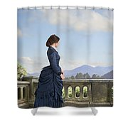 Victorian Woman In A Blue Dress Standing On The Terrace  Shower Curtain