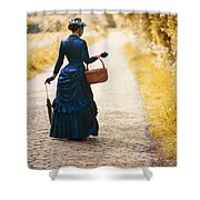 Victorian Woman With A Wicker Shopping Basket Shower Curtain