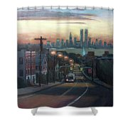 Victory Boulevard At Dawn Shower Curtain by Sarah Yuster