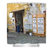 Vienna Girl And Dog Shower Curtain