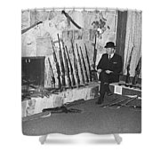 Viet Nam Vet John Dane With His Weapons Collection American Fork Utah 1975 Shower Curtain