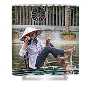 Vietnamese Lady Photographer At Tam Coc Shower Curtain