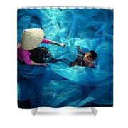 Vietnamese Women Repair Fishing Net And Fish Nets. Shower Curtain