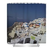 Viev Of Oia In Santorini Shower Curtain