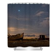 View Across Dungeness Peninsula At Night. Shower Curtain