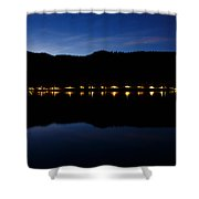 View Across Lake Bled At Night Shower Curtain